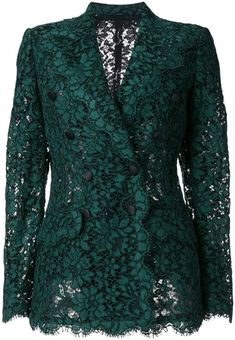 -- Dolce & Gabbana double breasted lace blazer -- only alwaysShop online for the latest clothing in Dolce and Gabbana women. Browse hundreds of designer boutiques for Dolce Gabbana for women. Lace Blazer, Lace Jacket, Sleevless Blazer, Blazer Outfits, Blazer Fashion, Casual Blazer, Dress Outfits, Green Lace, Green Dress