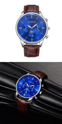 OUKESHI Casual Men Leather Quartz Watch -$12.05