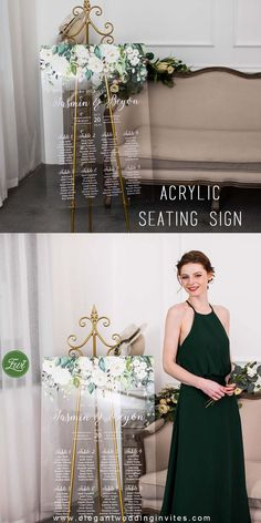 Acrylic Wedding Seating Chart Plan Whispers of White-Elegant Ivory and Green Flowers EWSG023 for fall winter wedding ideas
