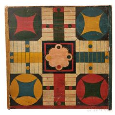 Sold for: $30,750 Painted Parcheesi Board, late 19th century, painted in a variety of bright colors, 19 x 19 1/4 in. Estimate $800-1,200 wear and flaking to the paint on the edges, a few newer nails to the ends for reinforcement, paint loss and chipping to the areas along the joints of the multi-board playing surface, and loss of large chips of wood to the reverse at the edges