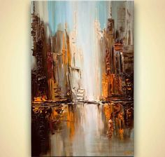 original city downtown painting textured abstract city art by Osnat #Abstract