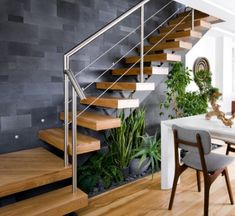 Interesting Indoor Wood Stairs Design Ideas You Never Seen Before. If you are looking for Indoor Wood Stairs Design Ideas You Never Seen Before, You come to the right place. Home Stairs Design, Railing Design, Interior Stairs, Design Your Home, Modern House Design, Home Interior Design, Stair Design, Modern Townhouse Interior, Staircase Design Modern