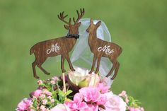Deer Wedding Cake Topper  Mr & Mrs Deer Beach by WeddingPros