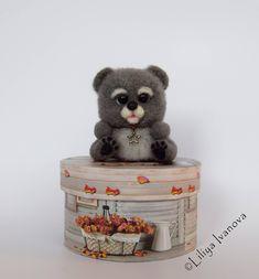 """Little bear felted, """"Misha"""", Медвежонок Миша, валяный из шерсти медвежонок в подарочной упаковке"""