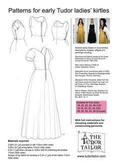 Shop | The Tudor Tailor | Pattern for Early Tudor Ladies' Kirtles - Large Sizes