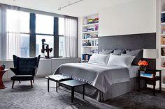 Dormitorios decorados en gris y blanco