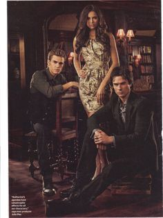 The Vampire Diaries Pictured: Paul Wesley as Stefan, Nina Dobrev as Elena, Ian Somerhalder as Damon Photo Credit: Art Streiber / The CW © 2010 The CW Network, LLC. All Rights Reserved. Vampire Diaries Stefan, Serie The Vampire Diaries, Vampire Diaries Poster, Vampire Diaries Wallpaper, Vampire Diaries Seasons, Vampire Diaries The Originals, Vampire Diaries Outfits, Damon Salvatore, Elena Damon