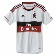 12-13 AC Milan Away Jersey - Boys by adidas. $36.99. football. The AC Milan Boys Away Football Shirt is a brand new style for the 2012-13 season and is an exact replica of the shirt that will be worn by the squad. It is made in the clubs traditional white away colour and features elements of their world famous home kit in the red and black stripes on the sleeves and the red and black central stripe. There is also an Italian flag trim on either side of this central design whic...