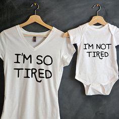 so tired Matching T-Shirt & Baby Grow Mum Mother Daughter Son Tee Top Vest Baby