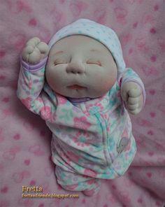 "OOAK suave esculpido recién nacido niña de Fretta, muñeca de textil, 47 cm/18.5 ""alto"