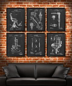 SET of 6 DENTAL Art Posters Dentist Patent by UltraPrint on Etsy