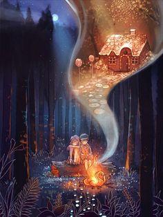 Hansel and Gretel, Aliya Chen on ArtStation at https://www.artstation.com/artwork/hansel-and-gretel-59a2fb51-6804-4fd8-add3-3a0cb4966dea