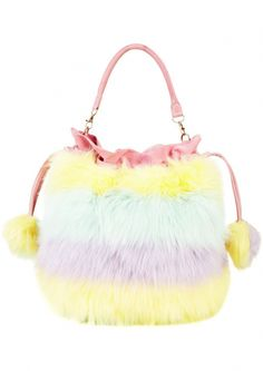 We are loving this rainbow fuzzy Meadham Kirchhoff for Topshop 2013 bag!