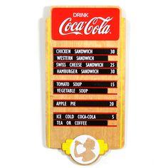 Coca-Cola Vintage Style Restaurant Menu Wood Sign   Nostalgic Coke Memorabilia     RetroPlanet.com