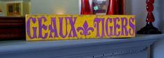 LSU custom wood sign fleur de lis hand painted wood by CSSDesign Painted Signs, Painted Wood, Painted Rocks, Hand Painted, Diy Wood Signs, Custom Wood Signs, Wood Home Decor, Home Decor Signs, Dorm Signs
