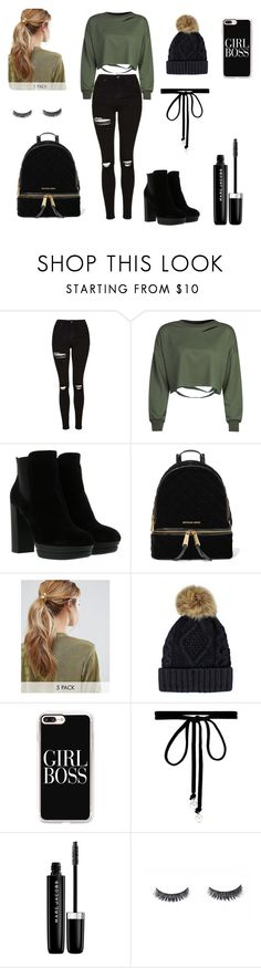 """""""Girl Boss"""" by carolina-dias-martins ❤ liked on Polyvore featuring Topshop, WithChic, Hogan, MICHAEL Michael Kors, Kitsch, Casetify, Joomi Lim and Marc Jacobs"""