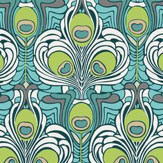 Filigree Collection, Teal Deco Plants FG-5535  by Pat Bravo for Art Gallery Fabrics