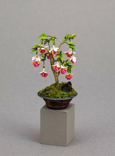 Fabulous bonsai fuchsia dollhouse miniature plant by Carol Wagner