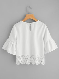 Feminine blouses: set special accents with trumpet sleeves 2019 Dotfashion Trumpet Sleeve Scallop Laser Cut Tops 2018 Summer Round Neck Half Sleeve White Blouse Woman Cut Out Button Blouse From Cactuse, Plain Tops, Stylish Tops, Bell Sleeve Blouse, Saree Blouse Designs, Half Sleeves, Blouses For Women, Ruffles, Tunic Tops, Clothes