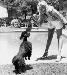 Old Photo Poodle Loving Lady