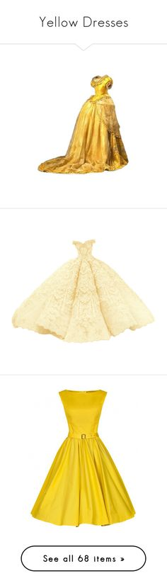 """""""Yellow Dresses"""" by delta14o6 on Polyvore featuring dresses, the dresses, gown, beige dress, vestido, yellow, yellow dress, vintage midi dress, sleeveless dress and vintage sleeveless dress"""