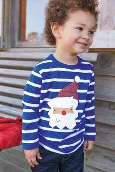 Blue Stripe Santa Long Sleeve Top (3mths-6yrs) from Next