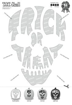 Trick or treat skull jack-o-lantern pattern Printable Pumpkin Stencils, Halloween Pumpkin Carving Stencils, Pumpkin Template, Pumpkin Carving Templates, Halloween Pumpkins, Halloween Crafts, Halloween Decorations, Pumpkin Carvings, Pumkin Stencils