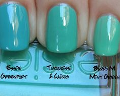 wear the ocean on your nails [polishes - Essie Greenport, Essie Turquoise & Caicos, Barry M Mint Green]
