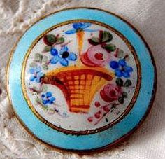 Antique Enamel Button with a Painted Basket of Flowers
