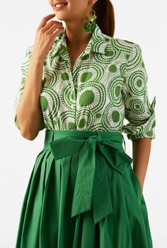 I <3 this Circle print cotton slim fit button-up shirt from eShakti