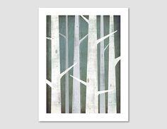 Arte grafica inverno boschi di betulle stampa illustrazione