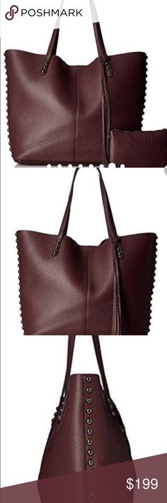 """Rebecca Minkoff dark  cherry tote. This is the Goldilocks of leather totes, not too small, not too big, just right. It's got the same buttery, slouchy leather & tough -yet chic stud hardware of the Unlined Tote, plus a handy snap closure to keep your stuff secure. Comes with a detachable leather pouch that's pretty lovable all by itself. 18.5""""Wx 14x 4.5""""D.  9.5"""" strap drop. 6""""W x 4""""H pouch Only carried one. Excellent condition. Rebecca Minkoff Bags Totes"""