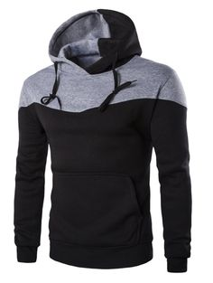 IZZUMI Classic Color Block Front Pocket Hooded Long Sleeves Hoodie For Men