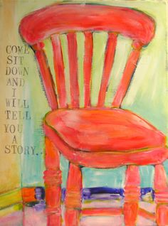 Day 21, painting #16 . . . oh my goodness . . .    I like chairs.  I have blue chairs, green chairs, red chairs, black chairs, beige chairs, leather chairs and even a couple of soft yellow chairs.  So it is not surprising that I often paint chairs and not just on canvas but the ones in our home.  Come fall I always seem to want to paint one coral and in the spring lime seems to make sense.  Thank goodness for spray paint and do overs.     Enjoy!