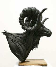 Yong Ho Ji sculpture made from tires Ram Head