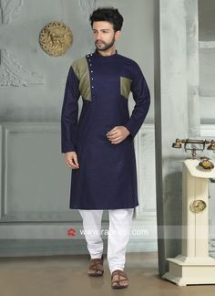 New Collections Navy color Kurta Pajama For Party Indian Men Fashion, Mens Fashion Wear, Suit Fashion, Kurta Pajama Men, Kurta Men, Mens Shalwar Kameez, Gents Kurta Design, Boys Kurta Design, Man Dress Design