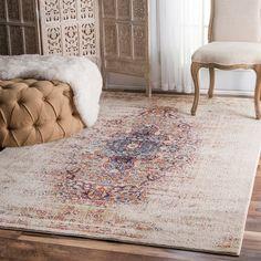 nuLOOM Vintage Persian Distressed Ivory Rug (7'10 x 10'10) by Nuloom Today: $498.99