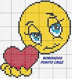 Emoji face with heart x-stitch