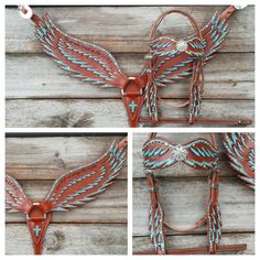 Angel Wings Breast Collar tooled with Scripture verse and rhinestone studs $350. as shown in turquoise set with browband headstall.  Add Fringe for $40 more.  Browband headstall is $199 - One Ear headstall is $190.