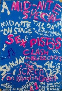 Sex Pistols, The Clash & Buzzcocks @ The Screen on Green. 1976
