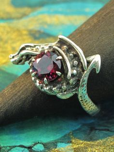 Curled Dragon Ring with Garnet
