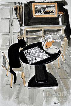 Atelier De Jiel Black Cat and Goldfish Playing Chess