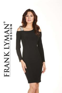 Frank Lyman Fall 2017. Stylish little black dress with diamonte strap. Proudly Made in Canada
