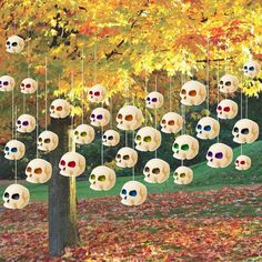 Halloween Lawn Decorations Hanging Skulls set of 36