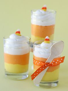 Halloween Mason Jars - Ideas for Using Mason Jars for Halloween - Country Living - Candy Corn Cheesecake Mousse