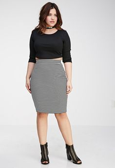 Plus Size FOREVER 21+ Striped Pencil Skirt