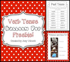 """FREEBIE!  Come collect your """"Balloon Pop"""" freebie!  Let's just say that learning your verb tenses never felt like a party...until now!  This freebie is great because it comes with step-by-step simple directions, as well as kid interaction!  Come get it! :)"""