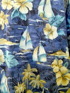 Campia Moda Hawaiian Shirt Mens Short Sleeve Blue Sailboats Flowers #CampiaModa #Hawaiian