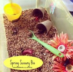 Spring themed sensory bin for sensory, messy and imaginative play. Suitable for toddlers and pre-schoolers.