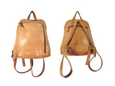 Light Brown Minimalist Backpack Purse // by IntertwinedVintage, $45.00
